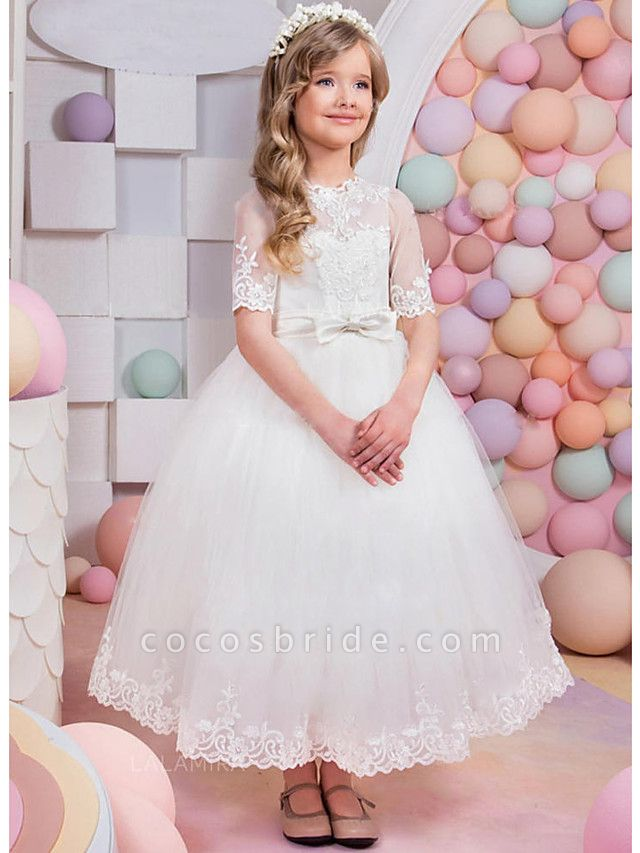 A-Line Floor Length Wedding / Party Flower Girl Dresses - Lace / Satin / Tulle Short Sleeve Jewel Neck With Bow(S) / Appliques / Solid