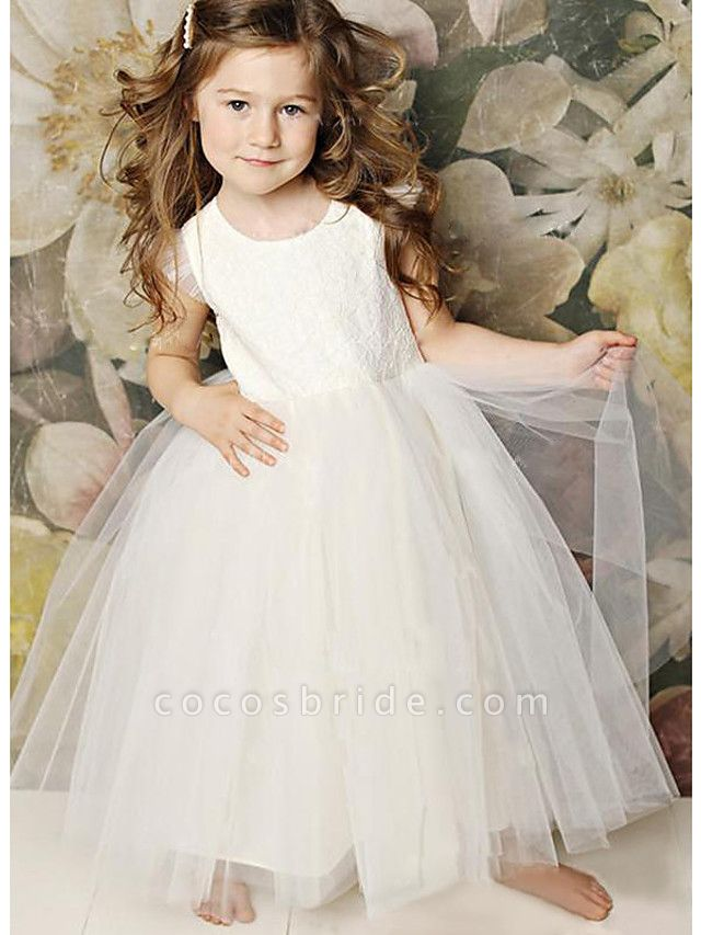 A-Line Floor Length Wedding / Party Flower Girl Dresses - Lace / Satin / Tulle Sleeveless Jewel Neck With Solid