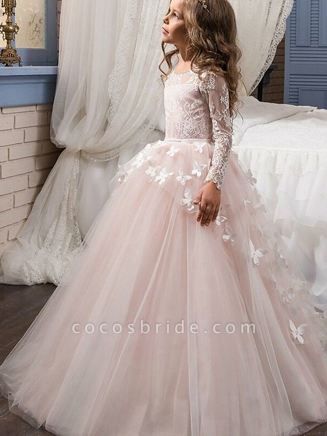 Ball Gown Sweep / Brush Train Party / First Communion / Birthday Flower Girl Dresses - Lace Long Sleeve Jewel Neck With Bow(S) / Appliques