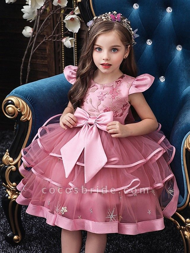 Princess / Ball Gown Knee Length Wedding / Party Flower Girl Dresses - Tulle Short Sleeve Jewel Neck With Bow(S) / Embroidery / Cascading Ruffles