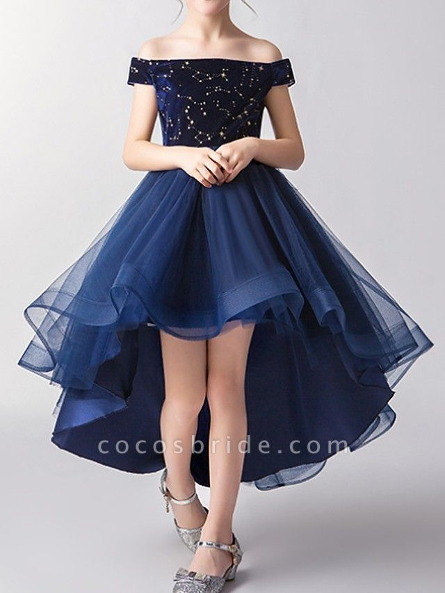 A-Line Asymmetrical Pageant Flower Girl Dresses - Tulle Short Sleeve Off Shoulder With Pattern / Print