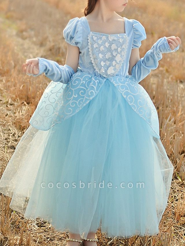 Princess Floor Length Pageant Flower Girl Dresses - Cotton Short Sleeve Square Neck With Beading / Appliques / Paillette