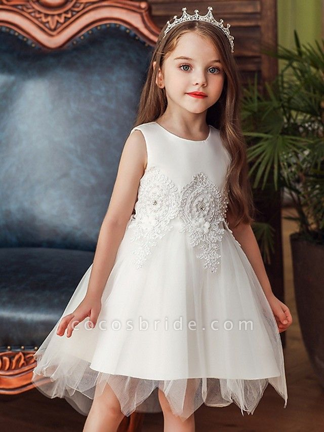 Princess / Ball Gown Knee Length Wedding / Party Flower Girl Dresses - Lace / Satin / Tulle Sleeveless Jewel Neck With Appliques