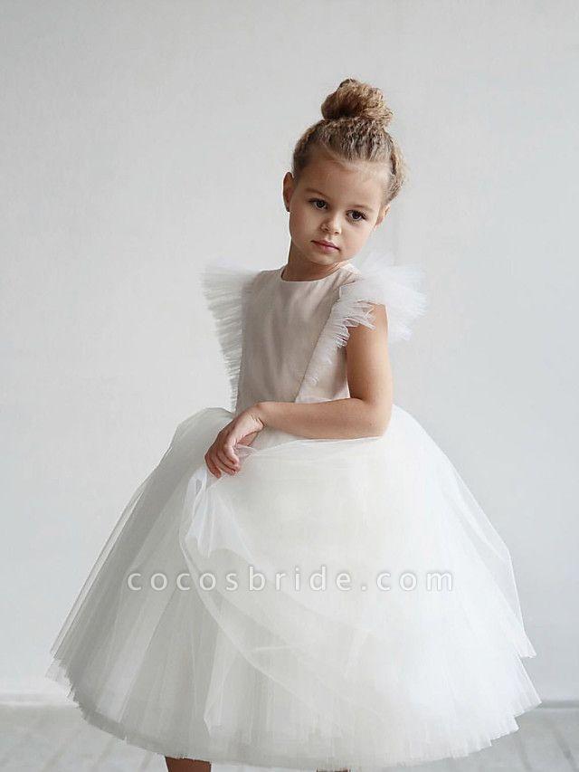 Princess / Ball Gown Tea Length / Medium Length Wedding / Party Flower Girl Dresses - Tulle Short Sleeve Jewel Neck With Ruffles / Appliques