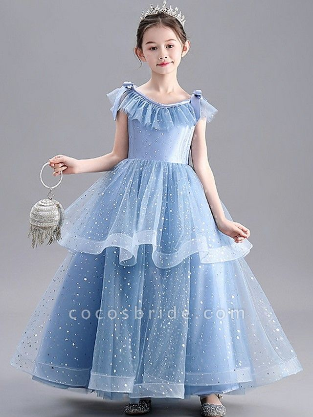 A-Line Floor Length Party / Pageant Flower Girl Dresses - Tulle / Polyester Sleeveless Jewel Neck With Tier / Paillette