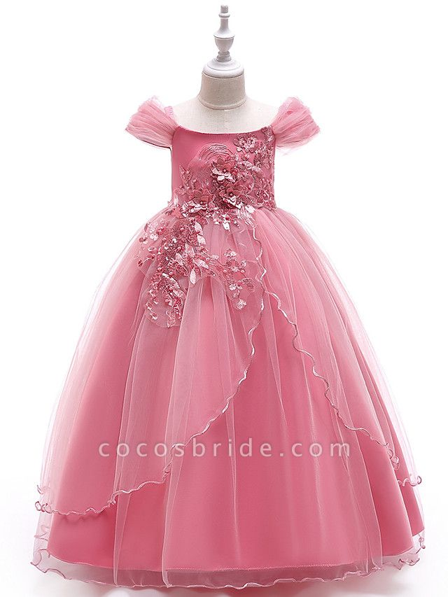 Ball Gown Floor Length Wedding / Party Flower Girl Dresses - Tulle Sleeveless Off Shoulder With Bow(S) / Solid / Tiered