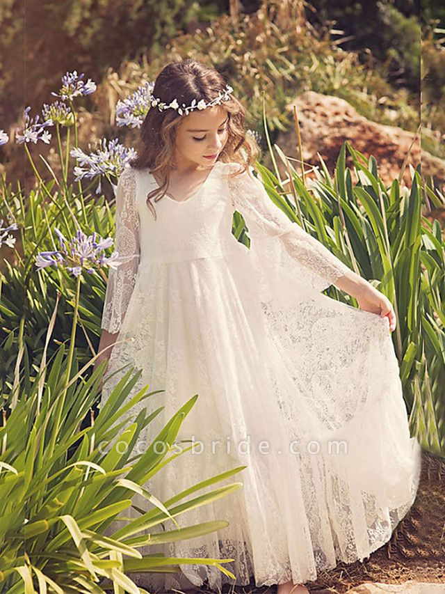 Sheath / Column Maxi Wedding / Birthday / Holiday Flower Girl Dresses - Lace / Cotton 3/4 Length Sleeve V Neck With Lace