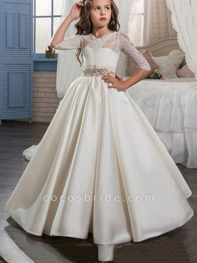 Princess / A-Line Floor Length Wedding / Party Flower Girl Dresses - Satin Half Sleeve Jewel Neck With Bow(S) / Pleats / Solid