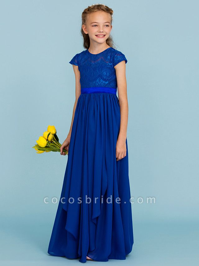 Princess / A-Line Crew Neck Floor Length Chiffon / Lace Junior Bridesmaid Dress With Sash / Ribbon / Bow(S) / Wedding Party