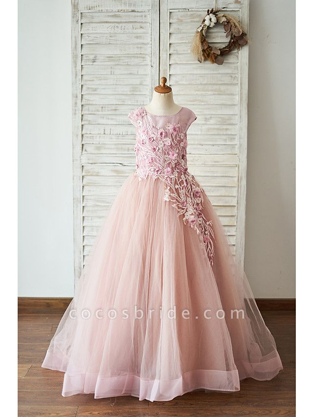 Ball Gown Floor Length Wedding / Birthday Flower Girl Dresses - Lace / Tulle Sleeveless Jewel Neck With Lace / Pearls / Flower