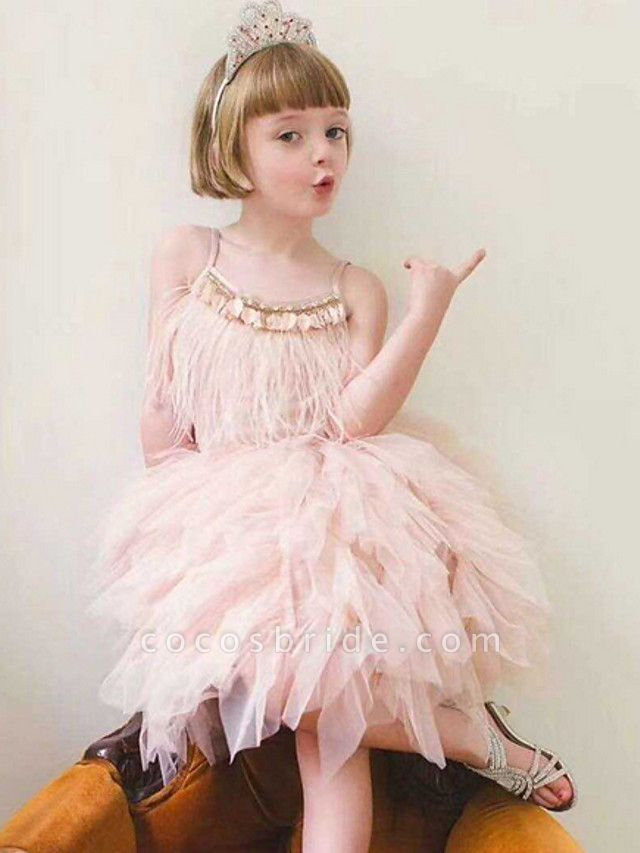 Ball Gown Asymmetrical Event / Party / Birthday Flower Girl Dresses - Poly Sleeveless Spaghetti Strap With Beading / Paillette