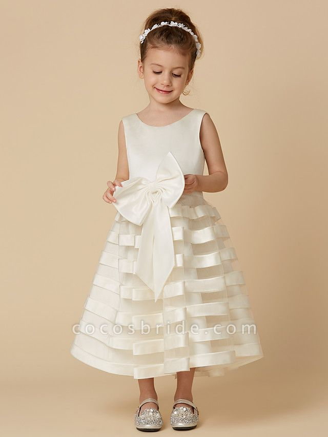 A-Line Tea Length Wedding / First Communion Flower Girl Dresses - Satin / Tulle Sleeveless Jewel Neck With Bow(S)