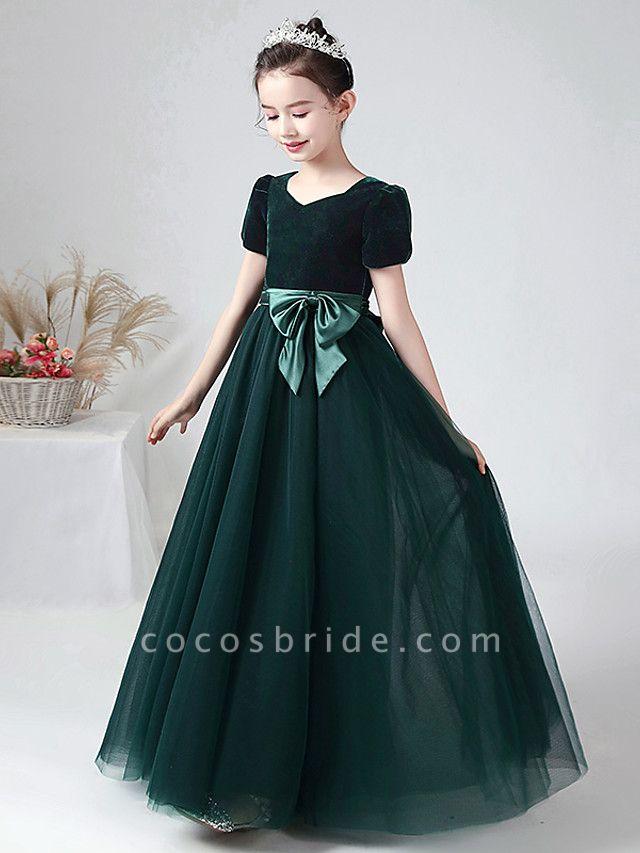 Ball Gown Floor Length Wedding / Party Flower Girl Dresses - Tulle / Velvet Short Sleeve Bateau Neck With Bow(S)