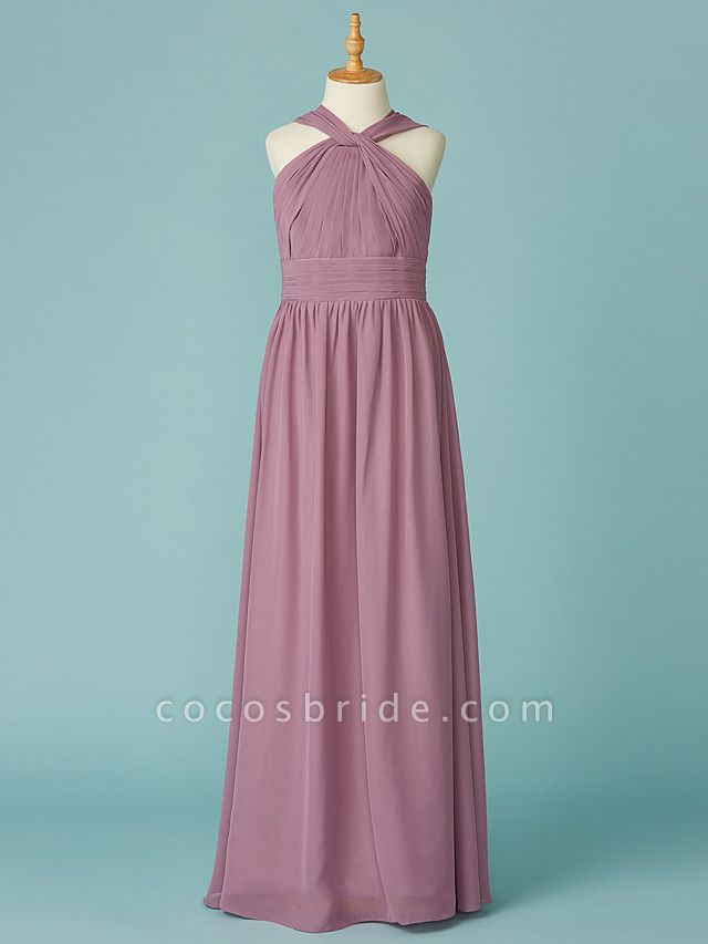 A-Line V Neck Floor Length Chiffon Junior Bridesmaid Dress With Ruffles