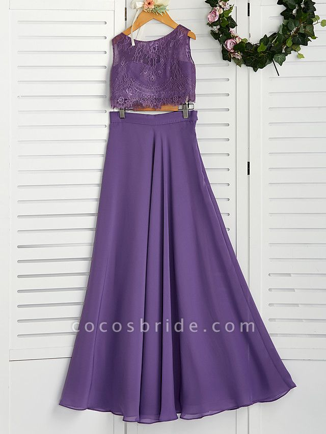 Two Piece / A-Line Crew Neck Maxi Chiffon / Lace Junior Bridesmaid Dress With Lace / Pleats