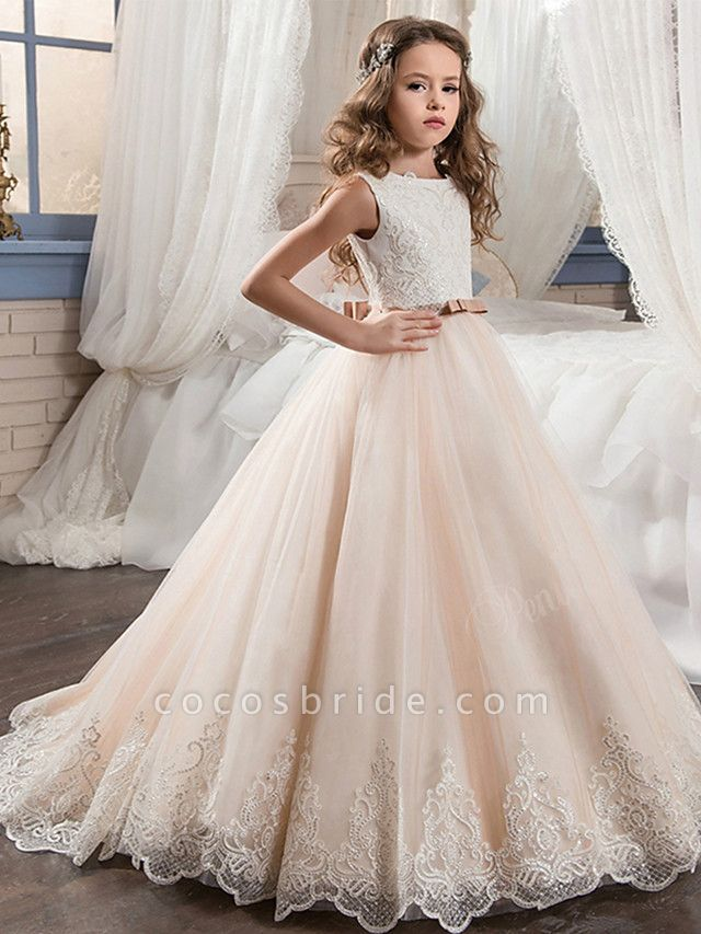 Ball Gown Maxi Wedding / Birthday / Pageant Flower Girl Dresses - Cotton / Nylon With A Hint Of Stretch / Chiffon / Tulle Sleeveless Jewel Neck With Bows / Lace / Embroidery