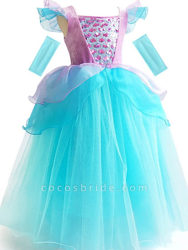 Ball Gown Floor Length Event / Party / Birthday Flower Girl Dresses - Poly Short Sleeve Scoop Neck With Cascading Ruffles / Color Block / Paillette