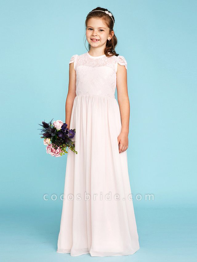 Princess / A-Line Crew Neck Floor Length Chiffon / Lace Junior Bridesmaid Dress With Buttons / Pleats / Wedding Party / See Through