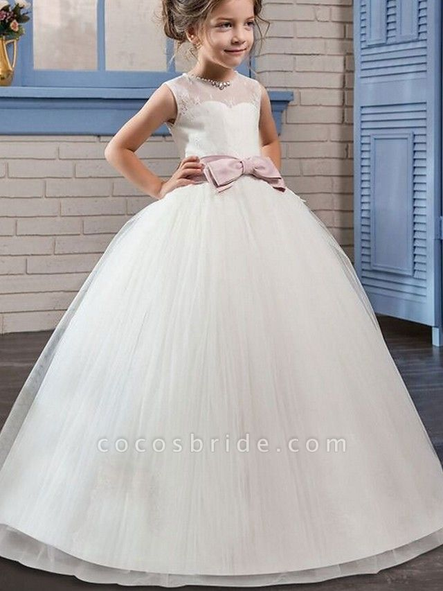 Princess / Ball Gown Floor Length Wedding / Party Flower Girl Dresses - Tulle Sleeveless Jewel Neck With Bow(S) / Beading / Embroidery