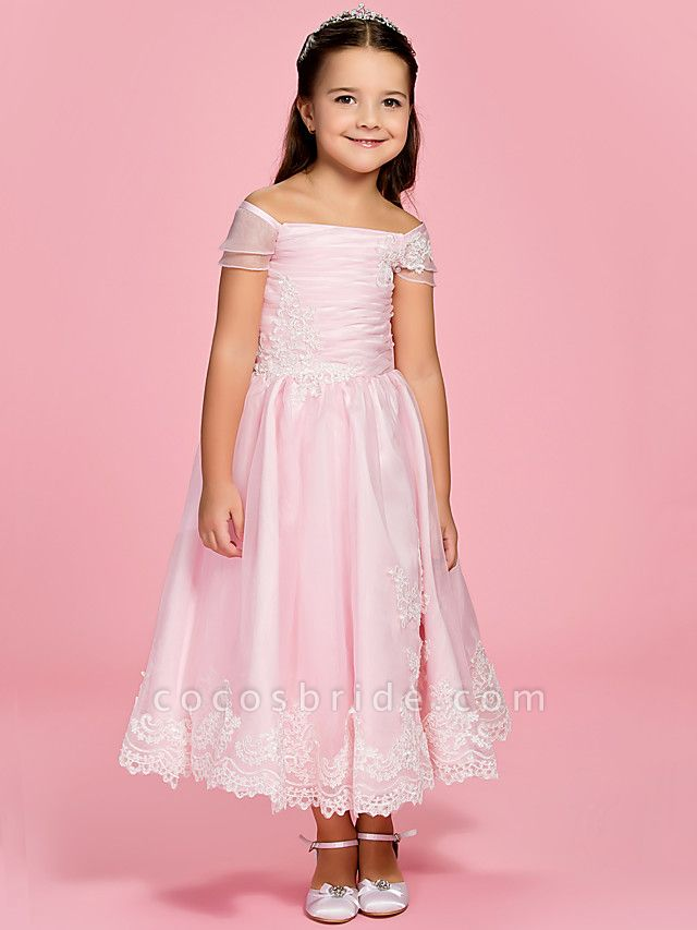 Princess / A-Line Ankle Length First Communion / Wedding Party Organza Short Sleeve Bateau Neck / Off Shoulder With Bow(S) / Ruched / Appliques / Spring / Summer / Fall