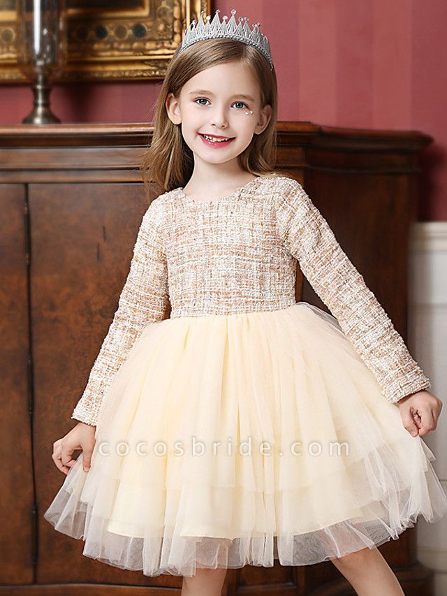 Princess / Ball Gown Knee Length Wedding / Party Flower Girl Dresses - Tulle Long Sleeve Jewel Neck With Ruffles / Tier