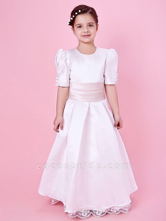 Princess / A-Line Floor Length First Communion / Wedding Party Lace / Satin Short Sleeve Jewel Neck With Lace / Sash / Ribbon / Buttons / Spring / Fall / Winter