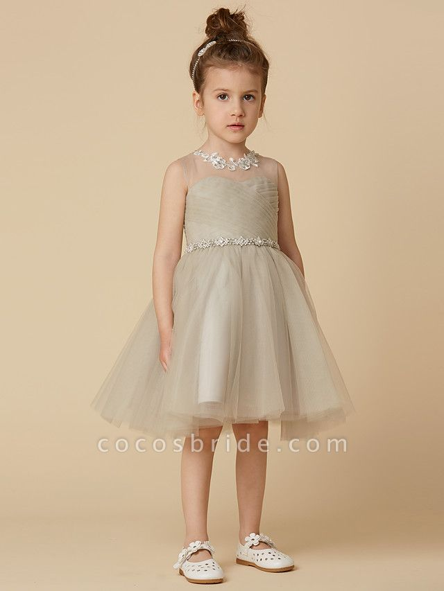 Princess Knee Length Pageant Flower Girl Dresses - Satin Sleeveless Scoop Neck With Sash / Ribbon / Criss Cross / Appliques