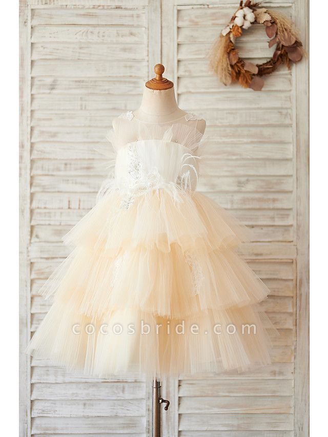Ball Gown Knee Length Wedding / Birthday Flower Girl Dresses - Tulle Sleeveless Jewel Neck With Feathers / Fur / Lace / Beading