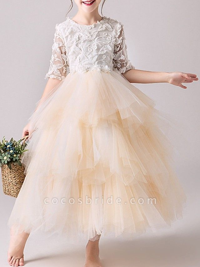 Ball Gown Ankle Length Pageant Flower Girl Dresses - Tulle Half Sleeve Jewel Neck With Tier / Appliques