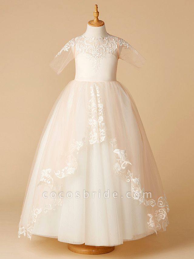 A-Line Sweep / Brush Train Wedding / First Communion / Pageant Flower Girl Dresses - Tulle Half Sleeve Jewel Neck With Appliques
