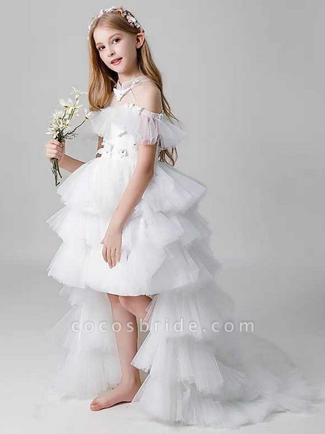 Sheath / Column Sweep / Brush Train Party / Birthday Flower Girl Dresses - Poly Sleeveless Off Shoulder With Lace / Tier