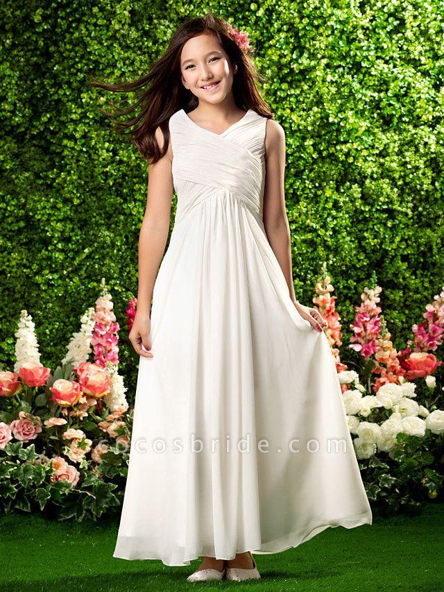 Sheath / Column V Neck Ankle Length Chiffon Junior Bridesmaid Dress With Criss Cross / Draping / Spring / Summer / Fall / Wedding Party