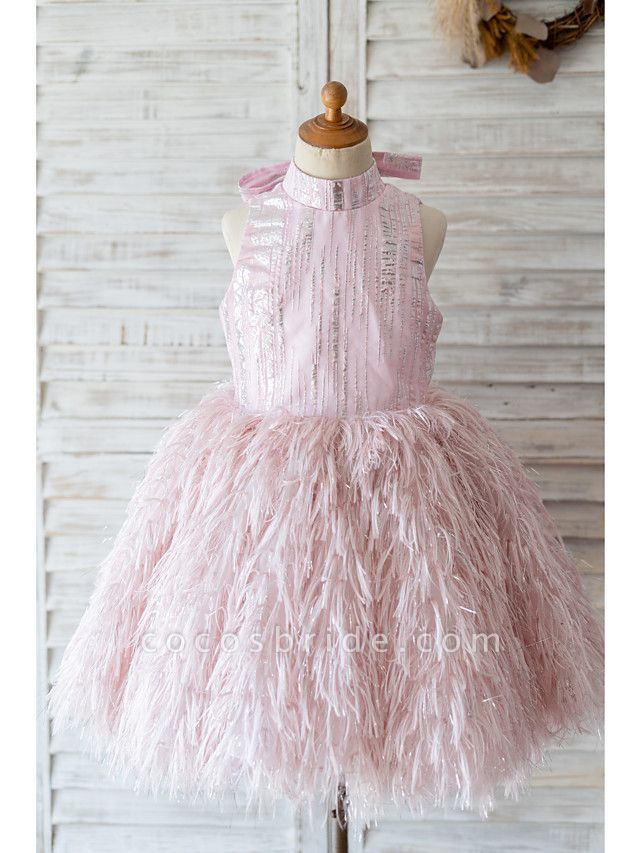 Princess / Ball Gown Knee Length Wedding / Birthday Flower Girl Dresses - Sequined Sleeveless High Neck With Sash / Ribbon