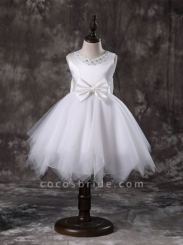 Princess / A-Line Knee Length / Medium Length Wedding / First Communion / Pageant Flower Girl Dresses - Tulle / Satin Chiffon / Polyester Sleeveless Jewel Neck With Faux Pearl / Bow(S) / Tier