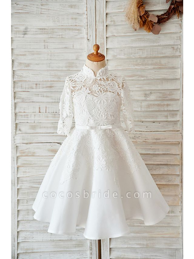 Ball Gown Knee Length Wedding / Birthday Flower Girl Dresses - Lace / Tulle Long Sleeve High Neck With Bows / Sash / Ribbon
