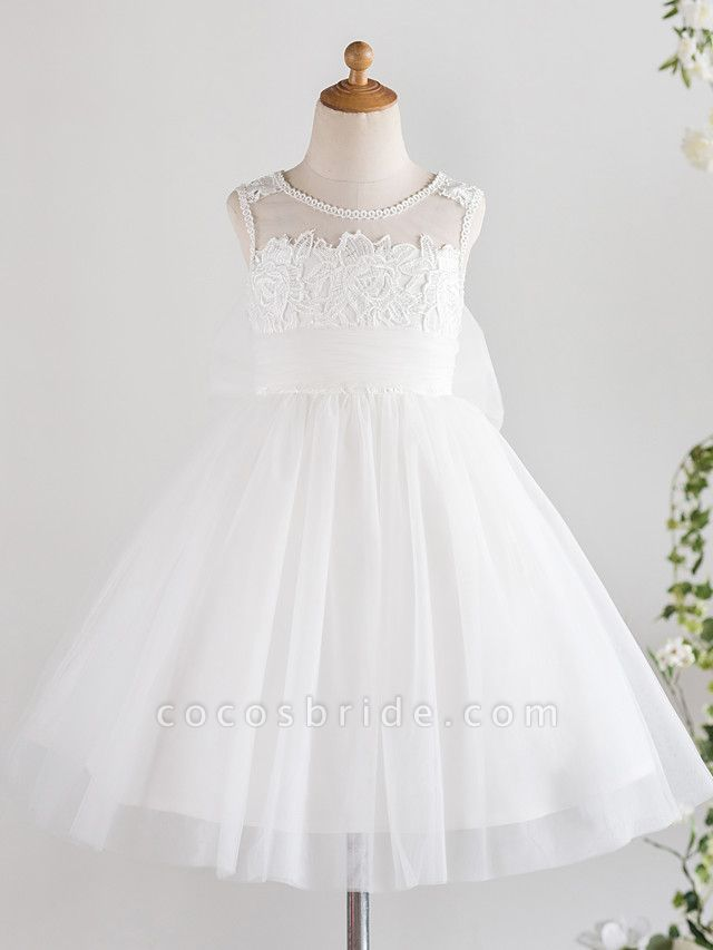Princess Knee Length Wedding / First Communion / Birthday Flower Girl Dresses - Lace / Tulle Sleeveless Jewel Neck With Bows / Feathers / Fur / Appliques