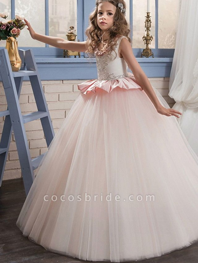 Ball Gown Court Train / Sweep / Brush Train Party / Birthday Flower Girl Dresses - Poly Sleeveless Jewel Neck With Lace / Ruffles / Tier