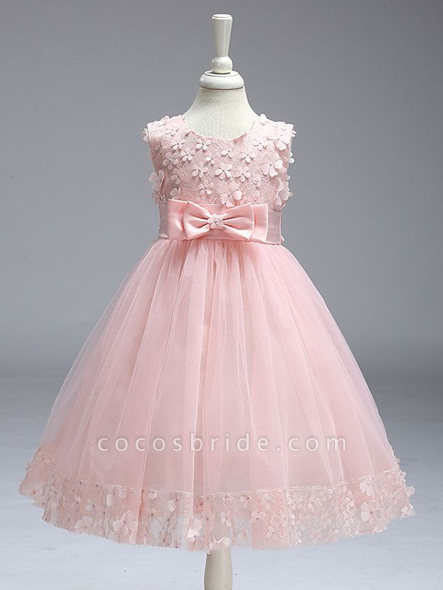 Ball Gown Knee Length Wedding / Party Flower Girl Dresses - Tulle Sleeveless Jewel Neck With Bow(S)