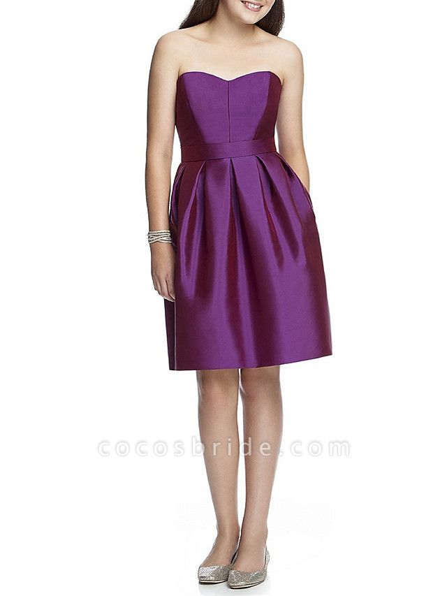 A-Line Bandeau Knee Length Satin Junior Bridesmaid Dress With Ruching