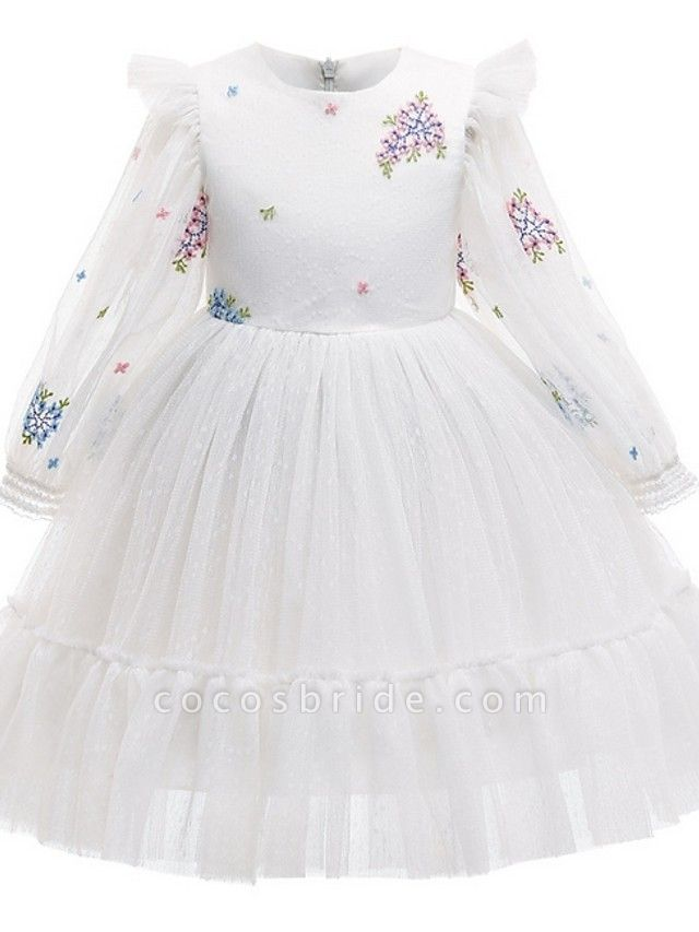 Princess / Ball Gown Knee Length Wedding / Party Flower Girl Dresses - Tulle Long Sleeve Jewel Neck With Pattern / Print