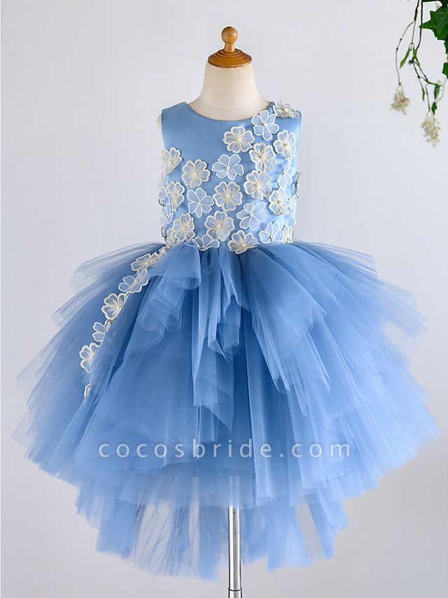 Ball Gown Asymmetrical Wedding / Birthday / Pageant Flower Girl Dresses - Satin / Tulle Sleeveless Jewel Neck With Petal / Pearls