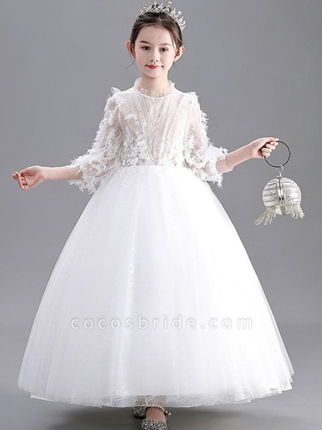 Ball Gown Floor Length Wedding / Party Flower Girl Dresses - Lace / Tulle Long Sleeve Jewel Neck With Appliques