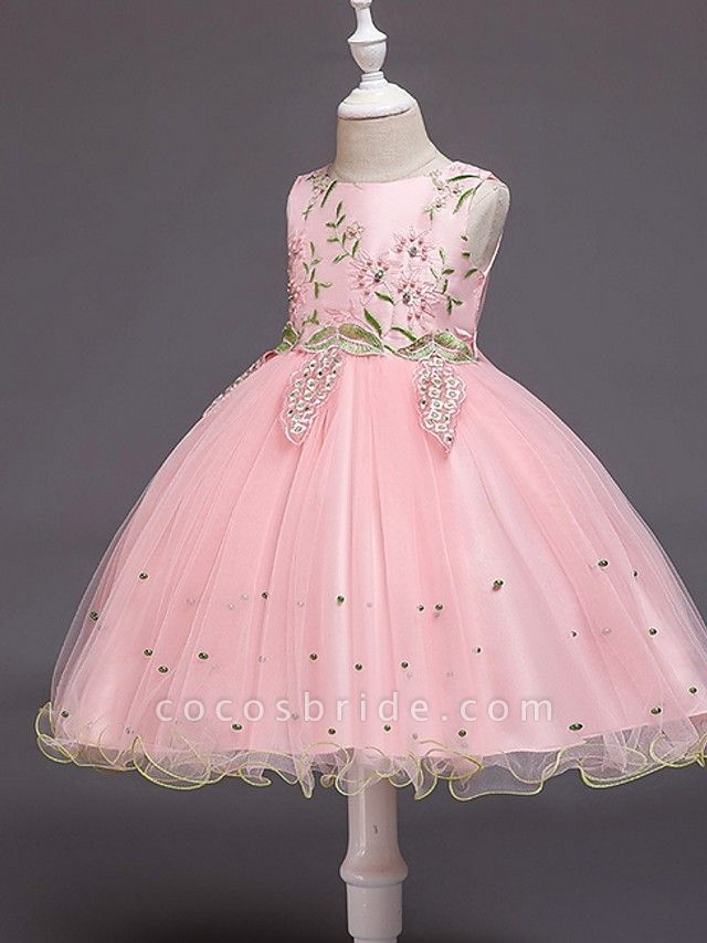 Ball Gown Knee Length Wedding / Party Flower Girl Dresses - Tulle Sleeveless Jewel Neck With Bow(S) / Beading / Appliques