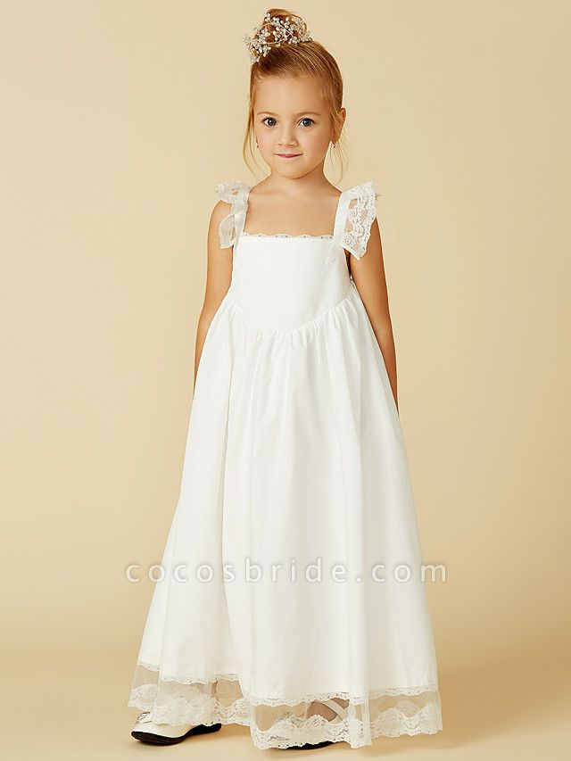 A-Line Ankle Length Wedding / First Communion Flower Girl Dresses - Lace / Cotton Sleeveless Straps With Pleats