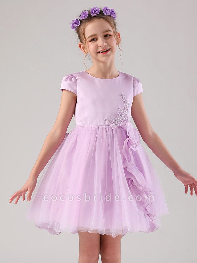 Princess / Ball Gown Medium Length Wedding / Event / Party Flower Girl Dresses - Satin / Tulle Cap Sleeve Jewel Neck With Embroidery / Appliques / Side Draping