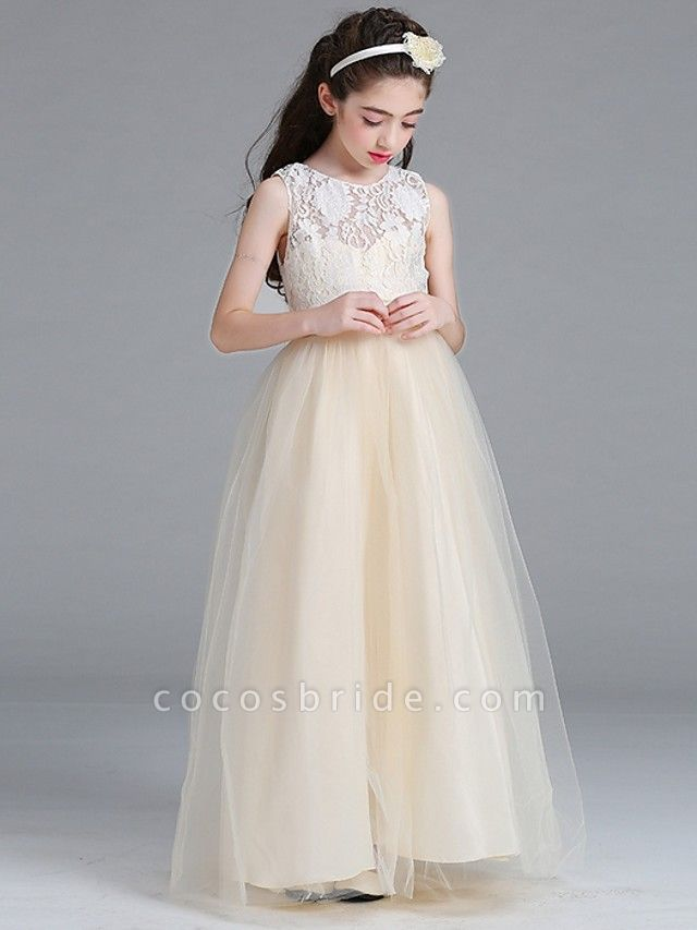 A-Line Round Floor Length Cotton Junior Bridesmaid Dress With Lace / Bow(S)