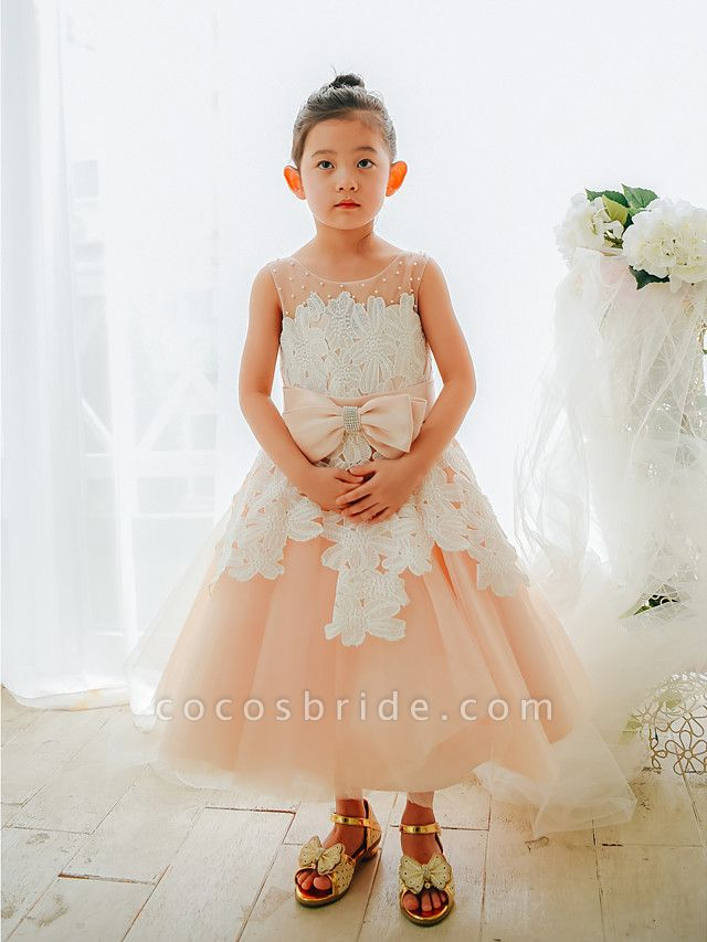 Ball Gown Tea Length Wedding / Birthday / Pageant Flower Girl Dresses - Lace / Tulle Sleeveless Jewel Neck With Bows / Pearls