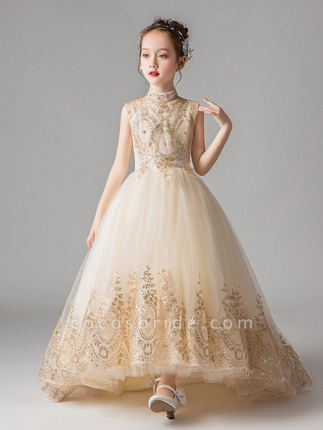 Princess Court Train Party / Pageant Flower Girl Dresses - Polyester Sleeveless Jewel Neck With Appliques