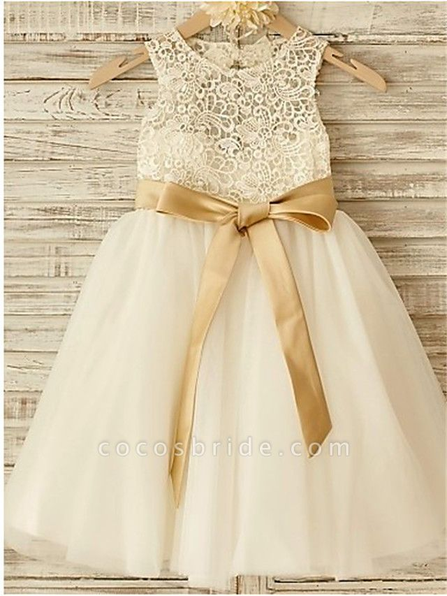 A-Line Jewel Neck Knee Length Lace / Tulle Junior Bridesmaid Dress With Lace / Sash / Ribbon / Bow(S) / First Communion
