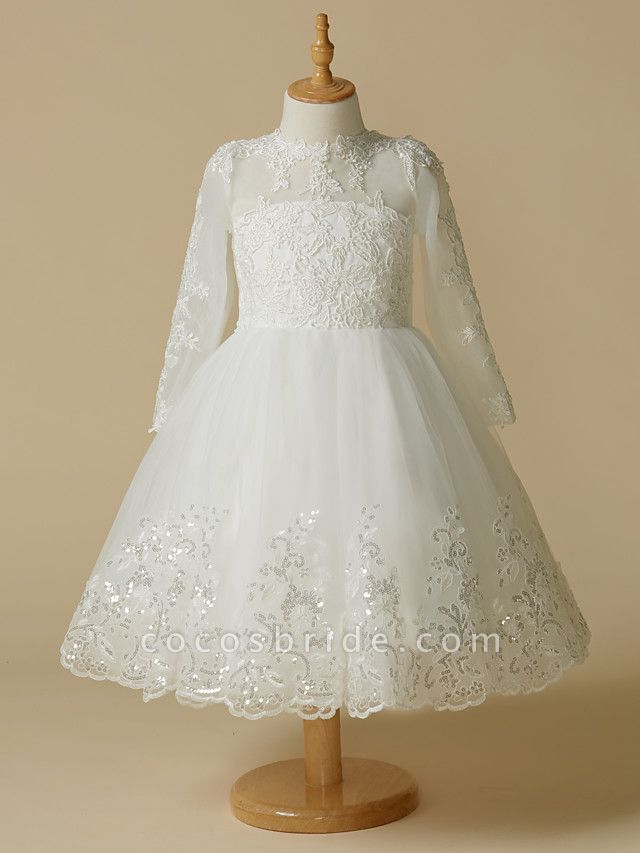 Princess Knee Length Wedding / First Communion Flower Girl Dresses - Lace / Tulle Long Sleeve Jewel Neck With Lace / Appliques